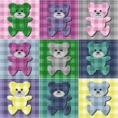patchwork background with teddy bears vector illustration poster