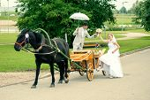 Romantic Bride and groom in carriage with horse on wedding day poster