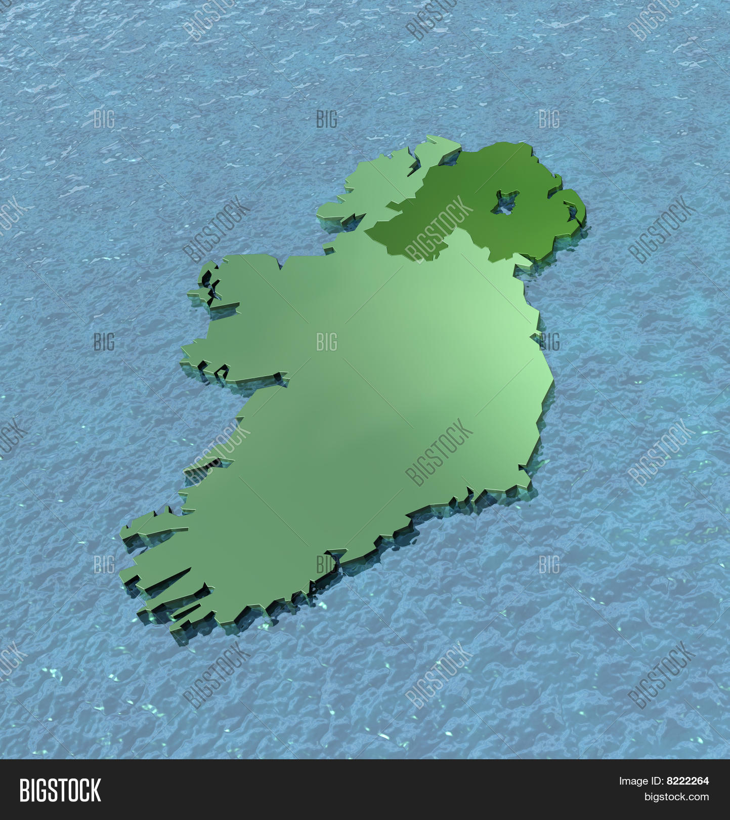 Map Of Ireland 3d.3d Map Ireland On Sea Image Photo Free Trial Bigstock