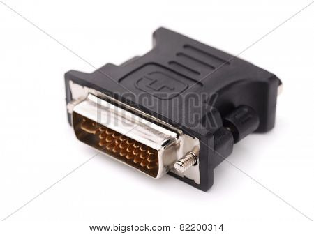 DVI to VGA adapter isolated on white