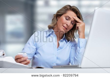Woman having migraine headache. Stress and depression. poster
