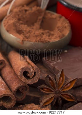 cocao powder, cinnamon and anise