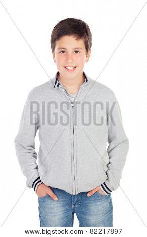 Smiling teenage boy of thirteen isolated on white background