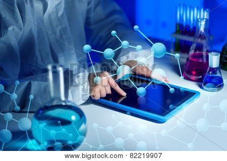 science, chemistry, medicine, technology and people concept - close up of young female scientist with tablet pc computer making test or research in laboratory