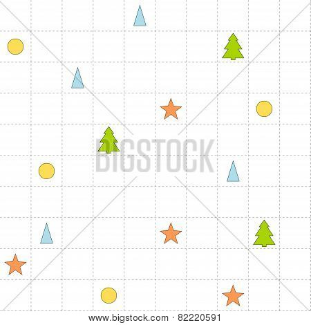 Seamless Checked Pattern With Trees, Triangles, Circles And Stars