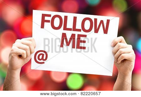 Follow Me with a copy space to put your profile card with colorful background with defocused lights