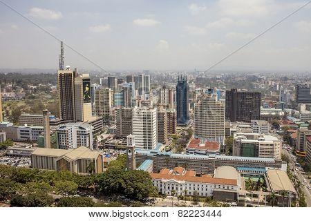 NAIROBI, KENYA-SEPTEMBER 14, 2014: An aerial view of downtown Nairobi, Kenya