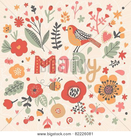 Bright card with beautiful name Mary in poppy flowers, bees and butterflies. Awesome female name design in bright colors. Tremendous vector background for fabulous designs