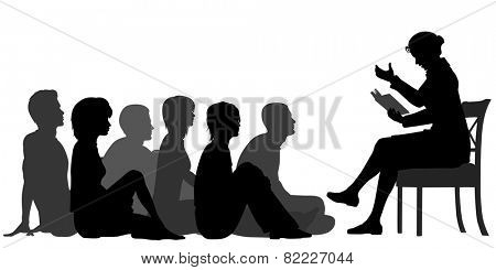 EPS8 editable vector silhouettes of a female teacher reading a story to a group of adults sitting on the floor poster