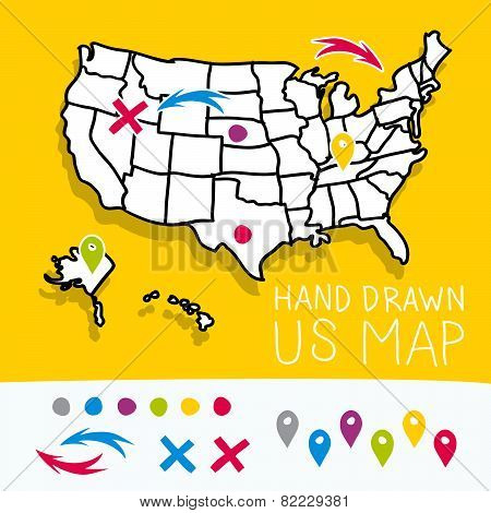 Yellow hand drawn US map with map