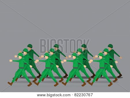 Soldiers Marching In Military Parade