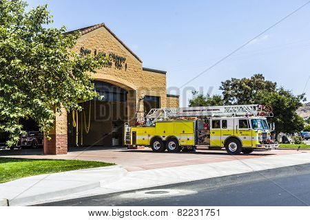 Fire Station Of San Luis Obispo With Emergency Car