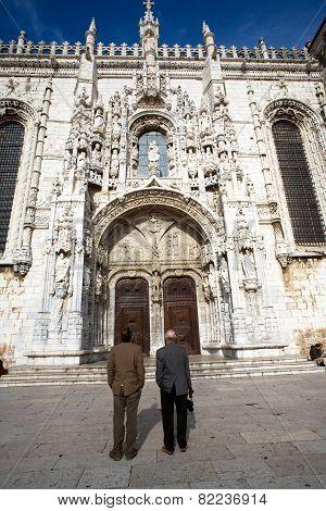 People Visit Monastery Of Jeronimos