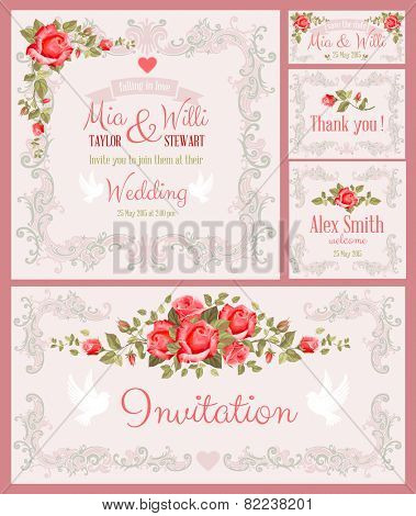 Vector Floral Frame Set for invitations or announcements. Easy to edit.