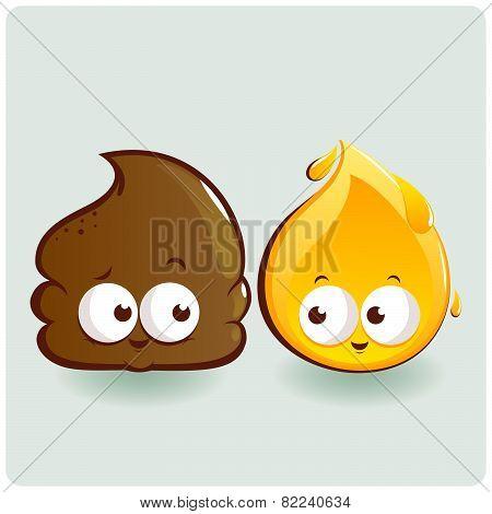 Cute poop and pee cartoons