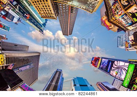 Times Square, Featured With Broadway Theaters And Huge Number Of Led Signs, Is A Symbol Of New York