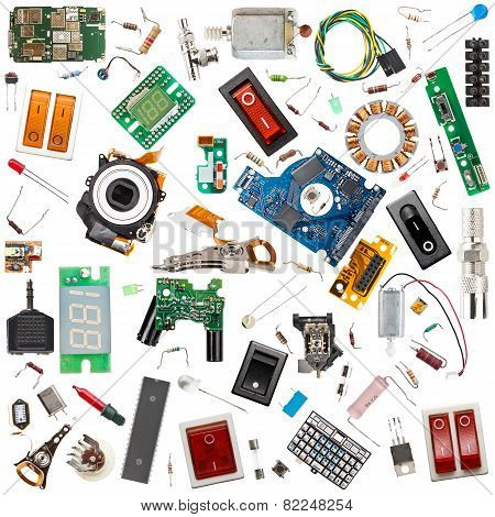 Collection of electronic components isolated in white poster