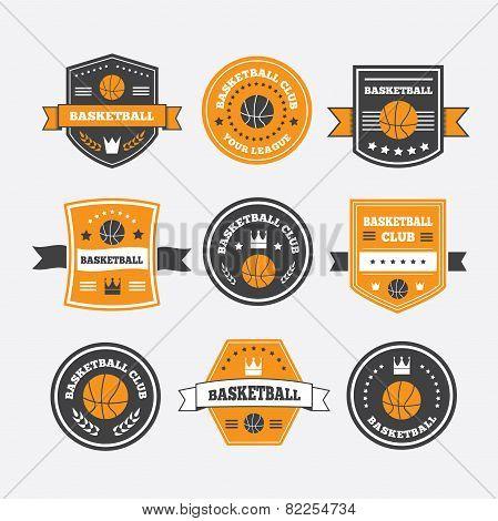 Basketball Set Vintage Emblems, Labels And Logos Or Symbols