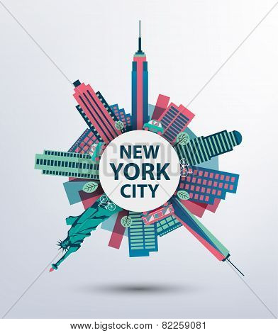 New York city architecture retro vector illustration, skyline silhouette, skyscraper, flat design