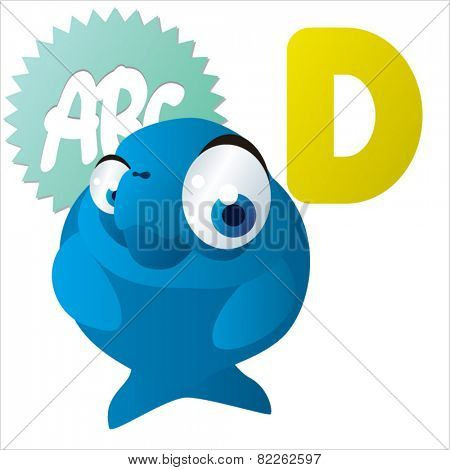 cute vector comic cartoon animals abc: D is for Dugong