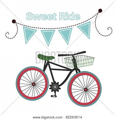 Sweet ride - bicycle with banner of flags for your input - isolated / layered