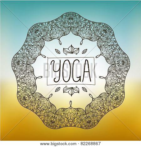 vector hand drawn ornamental yoga badge