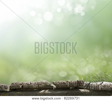 planed floor and grass on the background bokeh