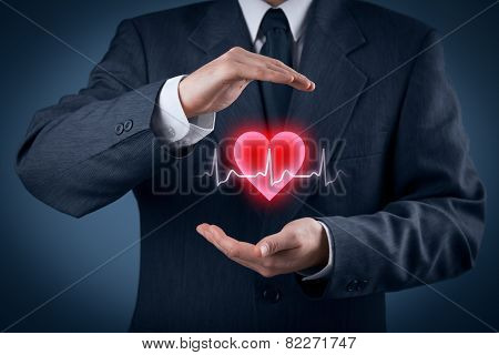 Protect health (healthcare) and heart problems prevention (cardiology) concept. Cardiologist with protective gesture and symbol of heart and ECG heartbeat. poster