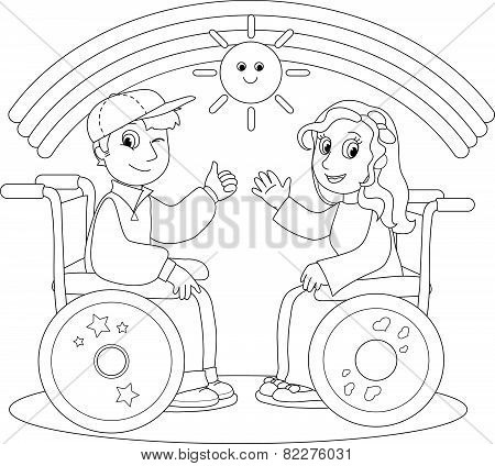 Happy disabled boy and girl