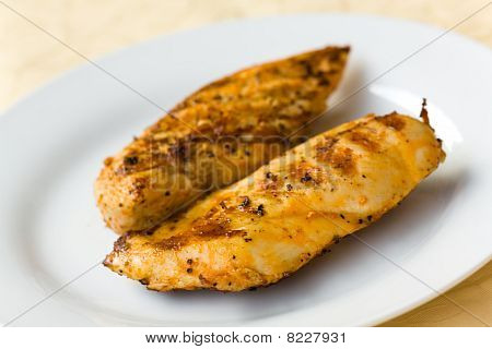 served fresh gold meat cutlet , close up