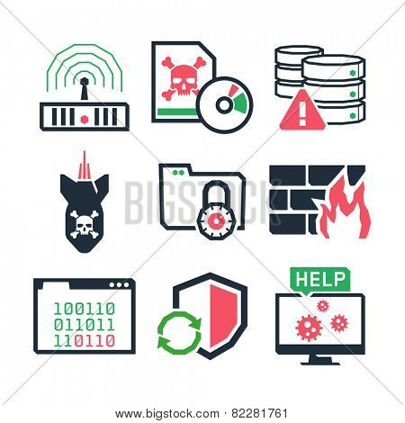 Computer Virus protection icons set // Color