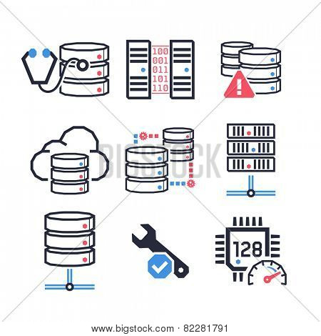 Servers & Databases icons set // Color