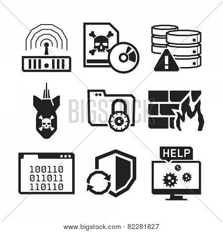 Computer Virus protection icons set // BW Black & White