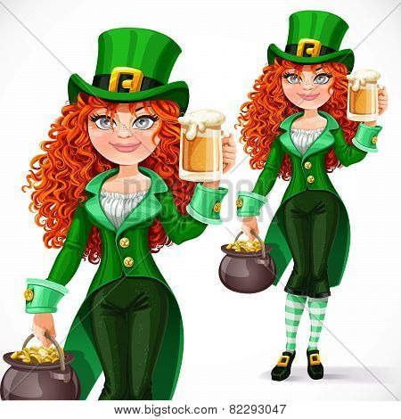 Beautiful Girl Leprechaun With Pot Of Gold Offers A Beer Isolated On A White Background