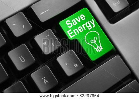 Grey Keyboard Green Button Save Energy