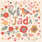 Bright card with beautiful name Jada in poppy flowers, bees and butterflies. Awesome female name design in bright colors. Tremendous vector background for fabulous designs poster
