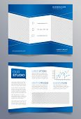 Template for a trifold business brochure in modern and sleek corporate blue and white design. Fully editable EPS10 poster