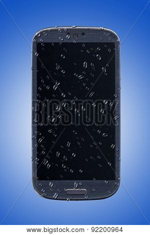 Smatrphone and water drops. Idea for smartphone cleaning, waterproof, film protection, insurance, forecast app and others.