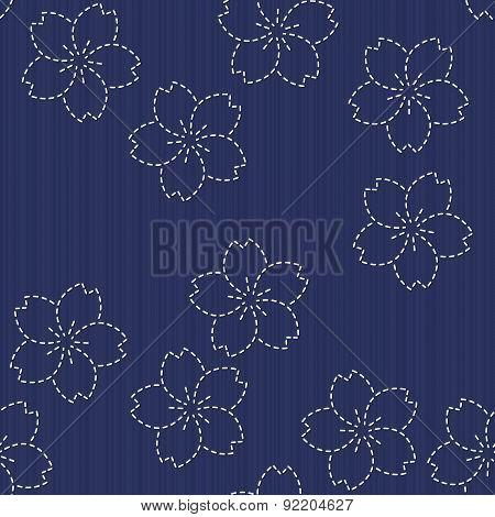 Sashiko motif - blooming cherry flowers. Floral backdrop. Needlework texture.