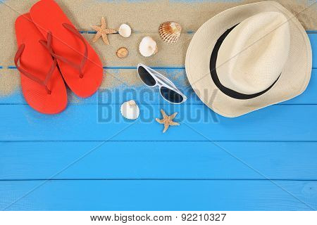 Beach scene in summer on vacation with shells hat copyspace poster