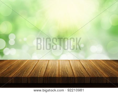 3D render of a wooden table with a defocussed bokeh lights background
