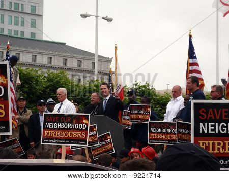 Mayor Of San Francisco Gavin Newsom Speaks At A Public Services Rally About Budget Cuts