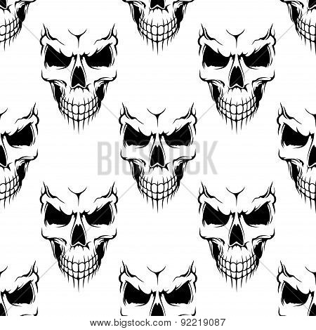 Black danger skull seamless pattern