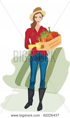 Farmer Woman with Cardboard Box with Vegetables