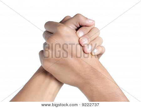 hand shake or arm wrestling