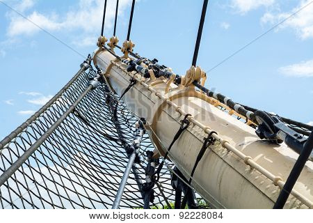Bowsprit And Safety Net Of A Historic Tall Ship