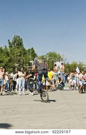 Trick On A Bmx Bike With The Rotation Of The Rear Wheel