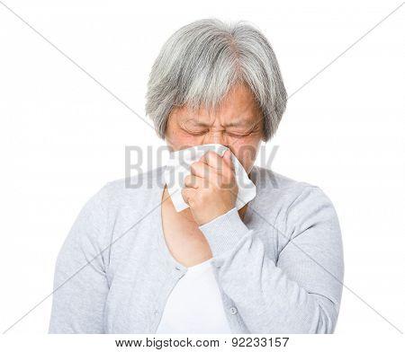 Mature woman runny nose