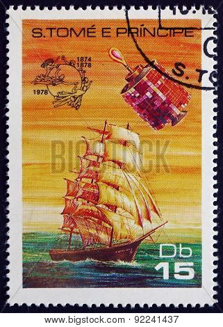 Postage Stamp Sao Tome And Principe 1978 Sailing Ship And Satell