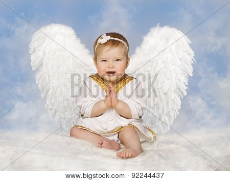 Angel Baby Wings, Angelic Cupid Toddler Kid Clasped Hands Folded, New Born Child Sitting Sky